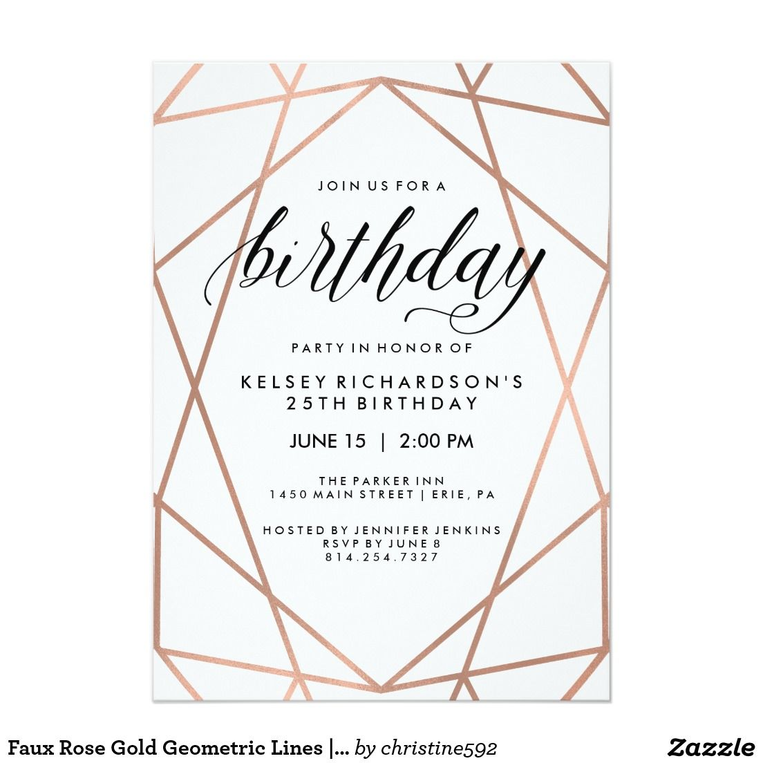 Faux rose gold geometric lines birthday party invitation http faux rose gold geometric lines birthday party invitation httpdeal stopboris Image collections