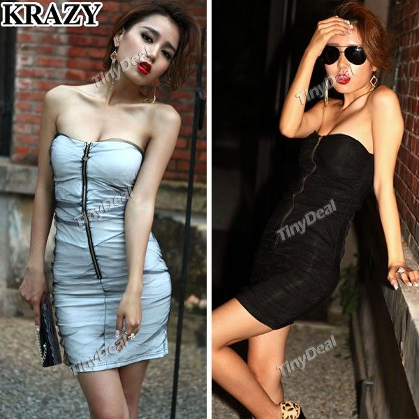 4c1f81e6b0c (KRAZY) Fashion Pleated One-piece Tube Dress with Front Zipper for Girl  Lady Women NTL-71447
