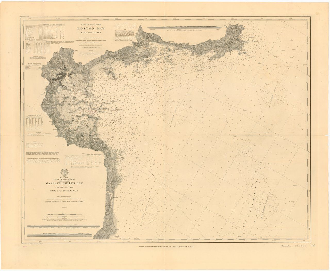 18 x 24 inch 1898 US old nautical map drawing chart of MASSACHUSETTS
