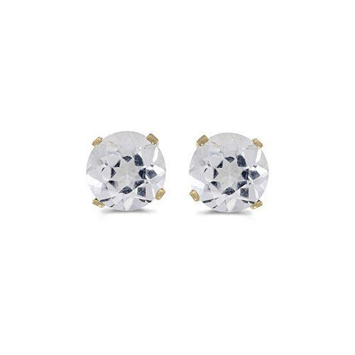 14k Yellow Gold Round White Topaz Stud Earrings Direct Jewelry 59 99 Genuine 14