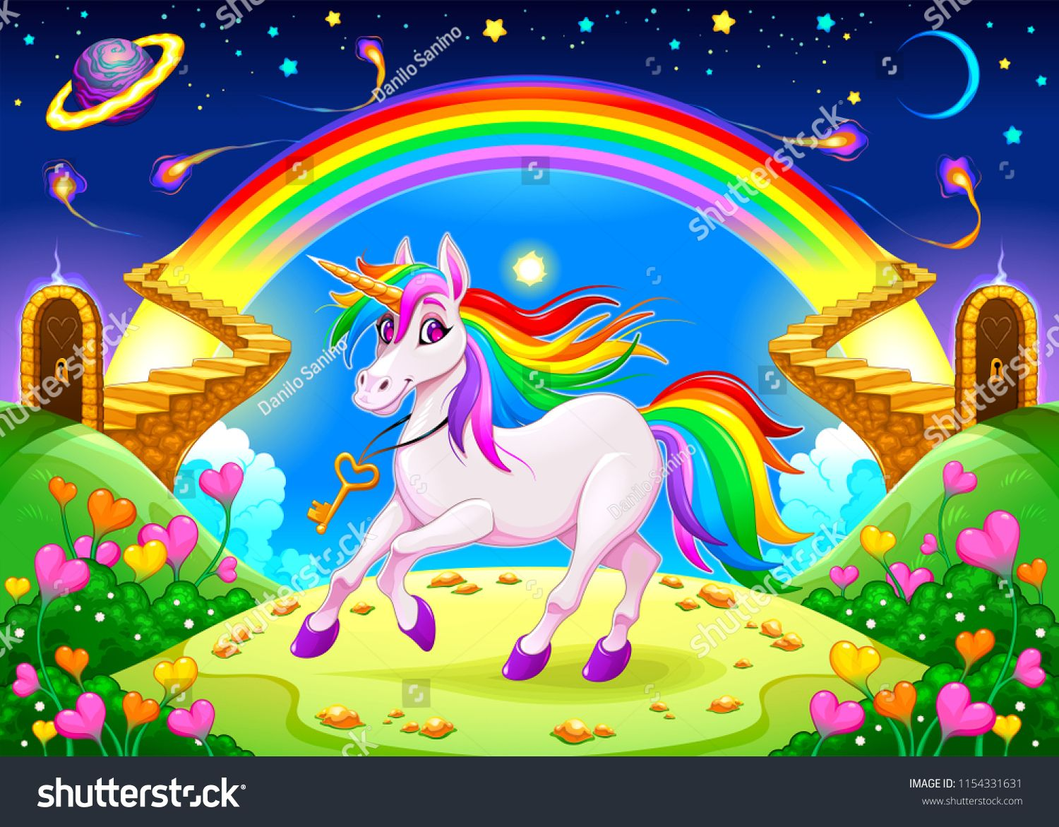 Rainbow Unicorn In A Fantasy Landscape With Golden Stairs Vector