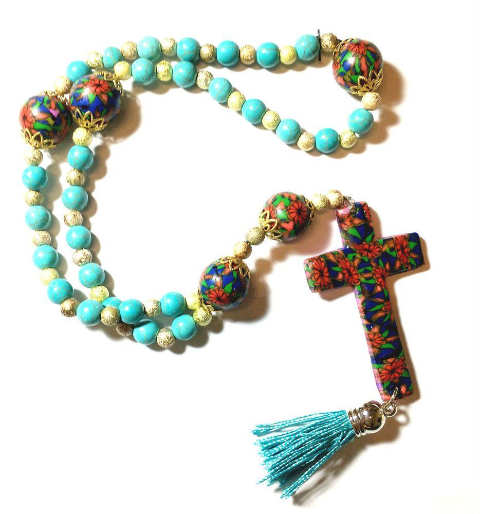 New Handmade Polymer Clay Anglican Prayer Rosary Beads Cross Religious Gift