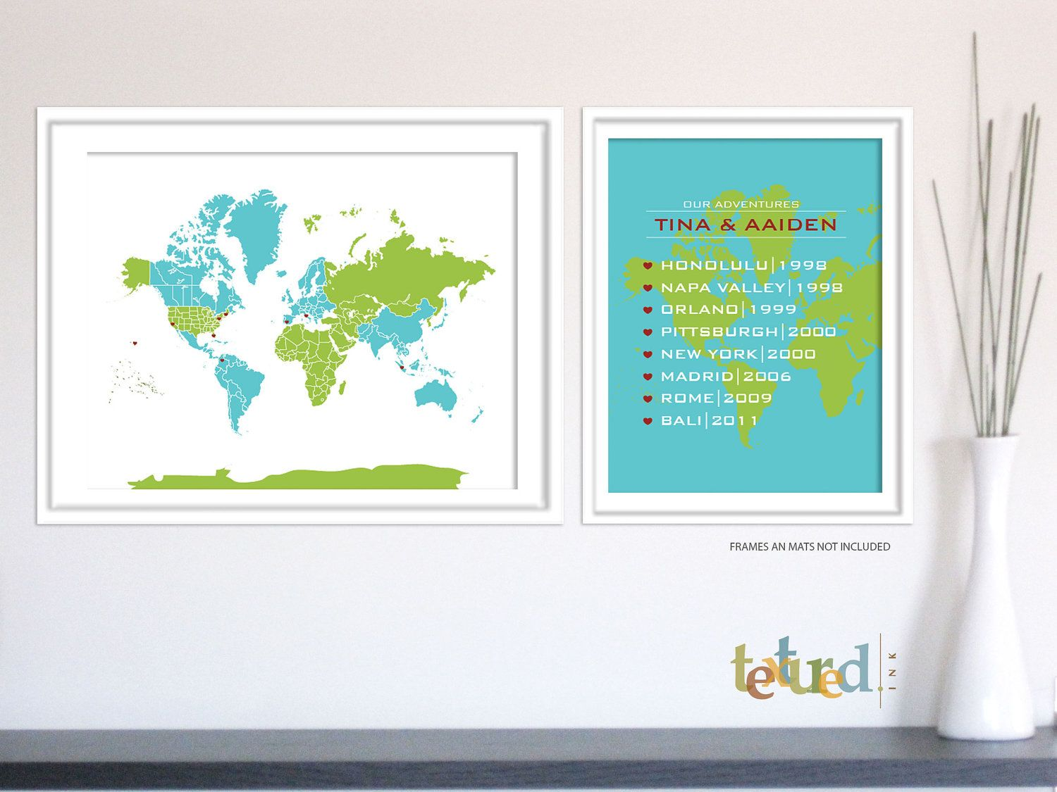 Personalized world map hearts in place 11x14 and 85x11 inches personalized world map hearts in place 11x14 and 85x11 inches set of gumiabroncs Images