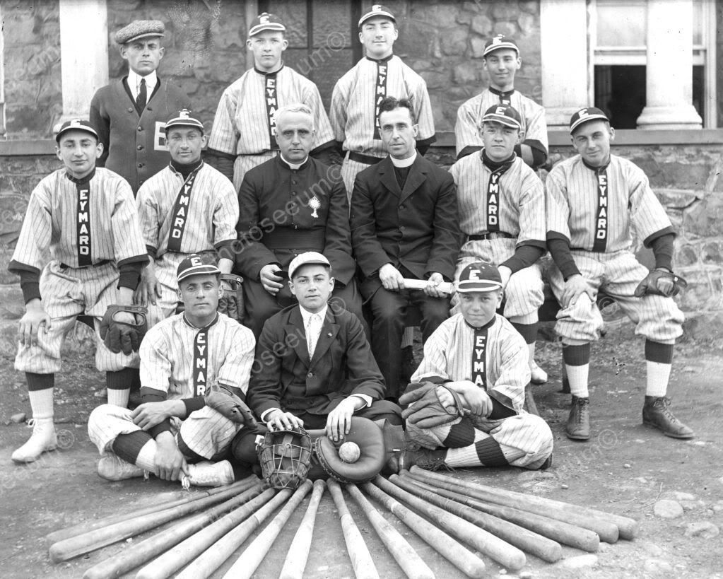 Eymard Boys Baseball Team & Priests 8x10 Reprint Of Old Photo