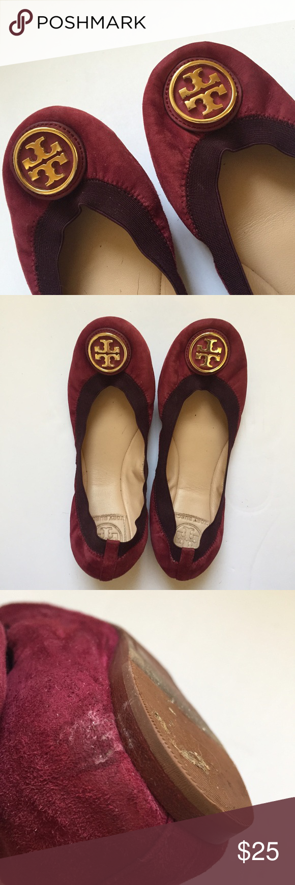 86d9598f3d1 Tory Burch Burgundy Suede Ballet Flats Authentic Tory Burch  less than a  year old but semi worn... Price reflects that. Tory Burch Shoes Flats    Loafers