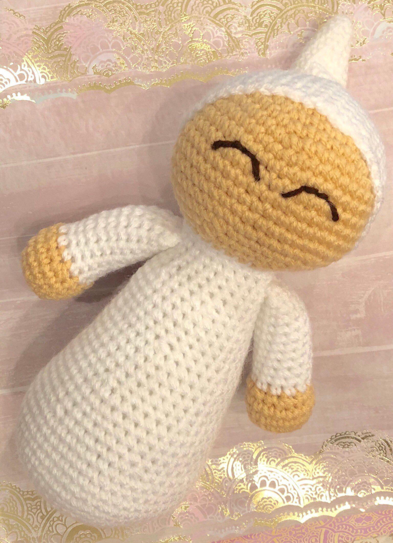 Crochet baby Crochet Baby Doll baby shower gift Imaginative play toy nursery decor Imaginative play Toddler toy Sleeping Baby doll