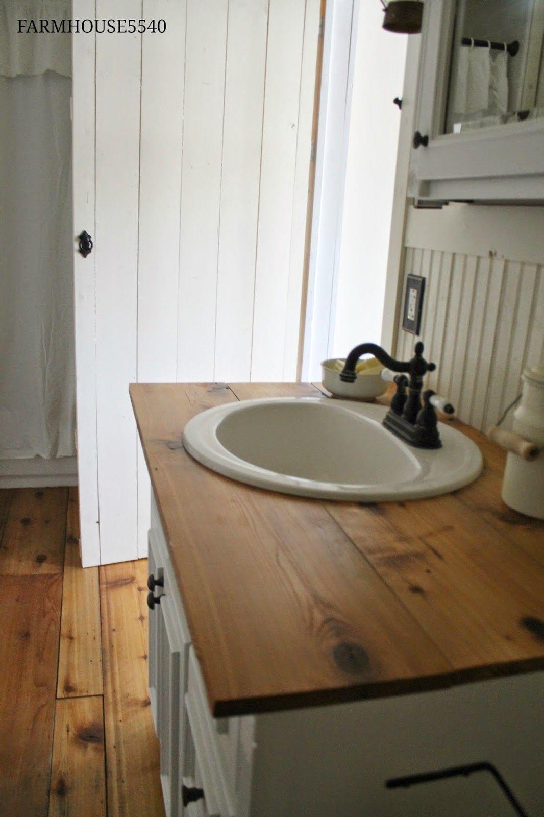 Love The Farmhouse Feel Butcher Block Esqe Counter Top Bathroom