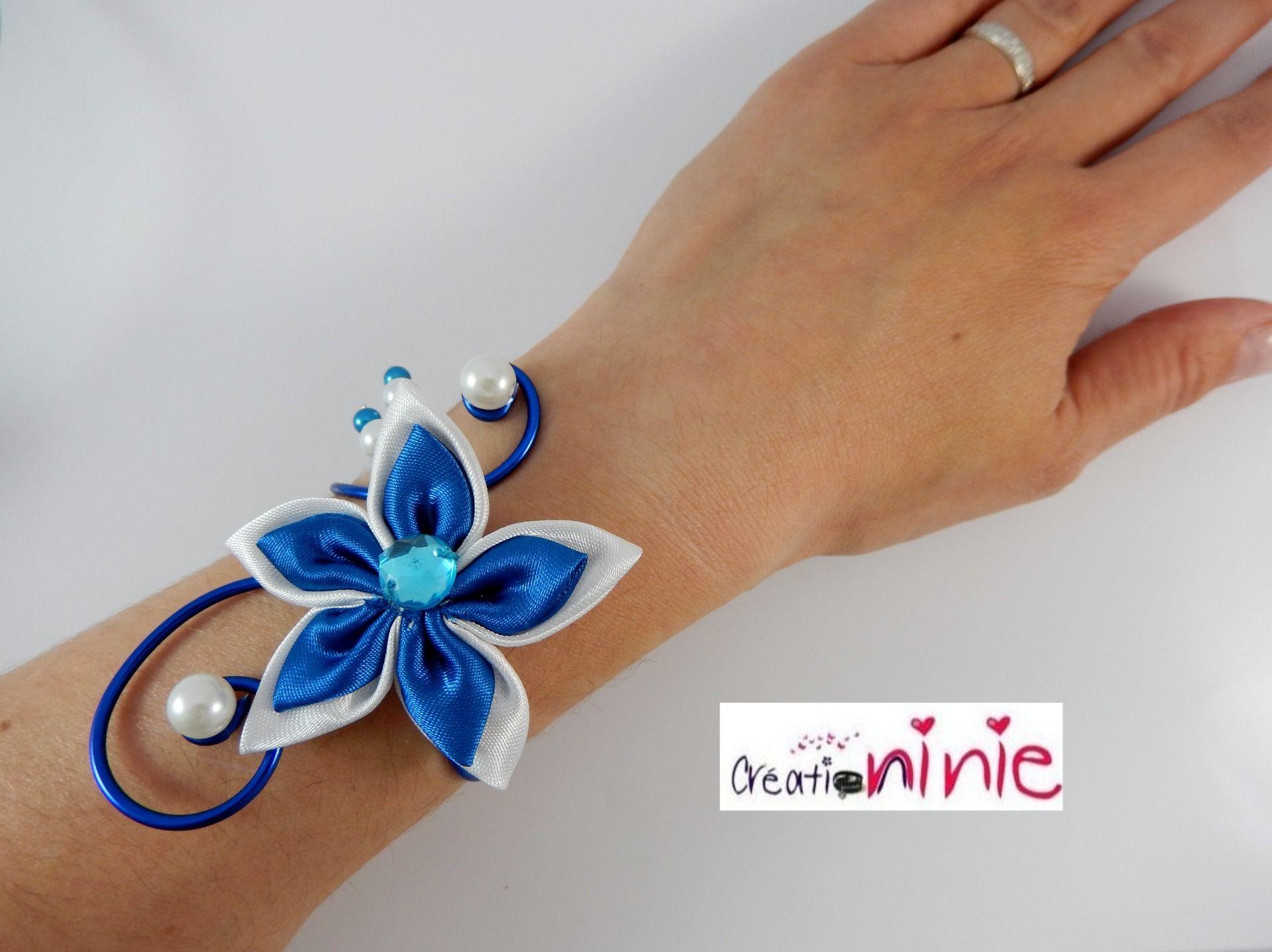"""Bracelet """"Agathe"""" mariage bleu roi - personnalisable : Bracelet par creation-ninie"""
