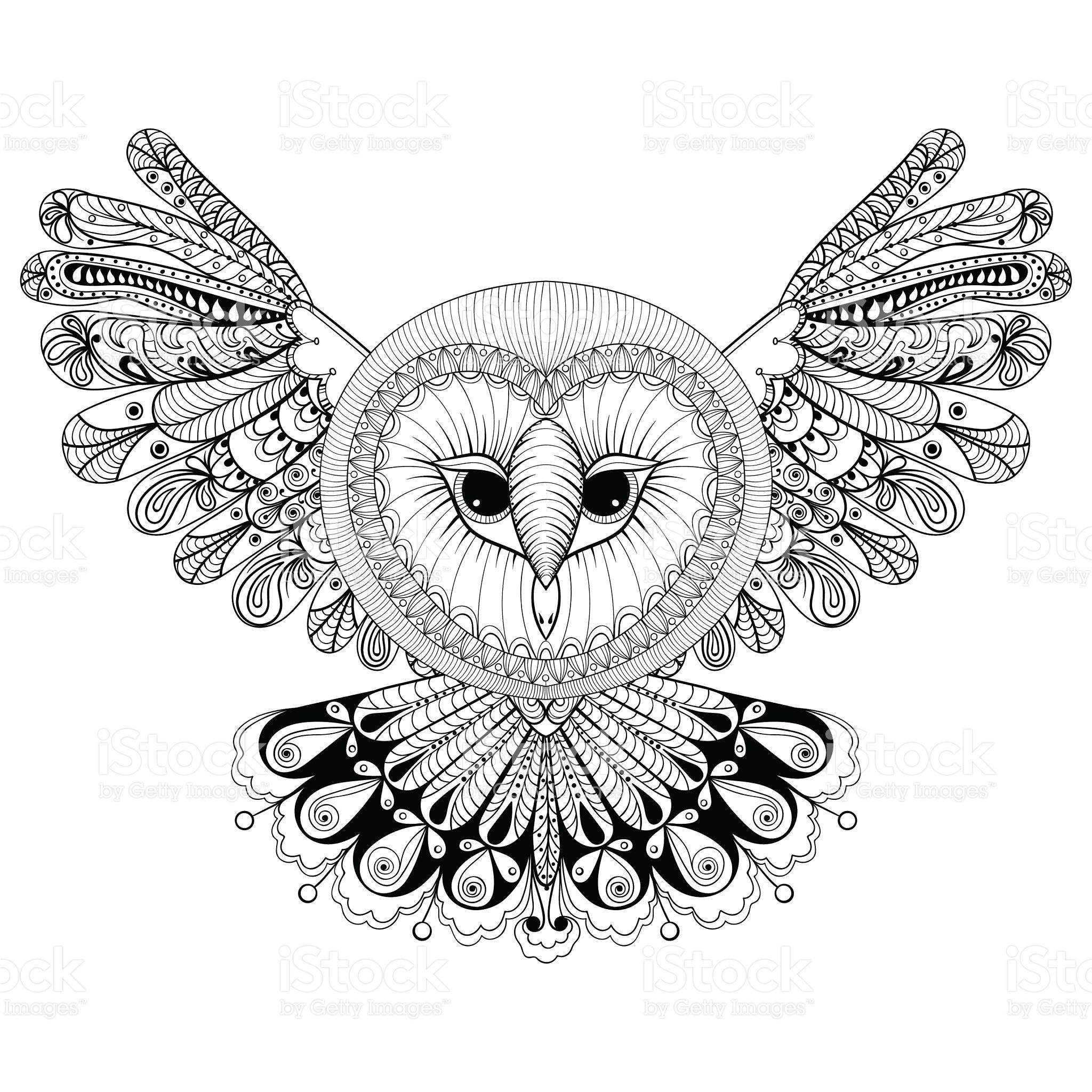 Coloring Page With Owl Hand Drawing Illustration Tri Royalty Free Stock Vector Art