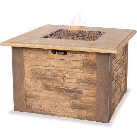 Uniflame LP Gas Faux-Stacked Stone Fire Pit Table ...