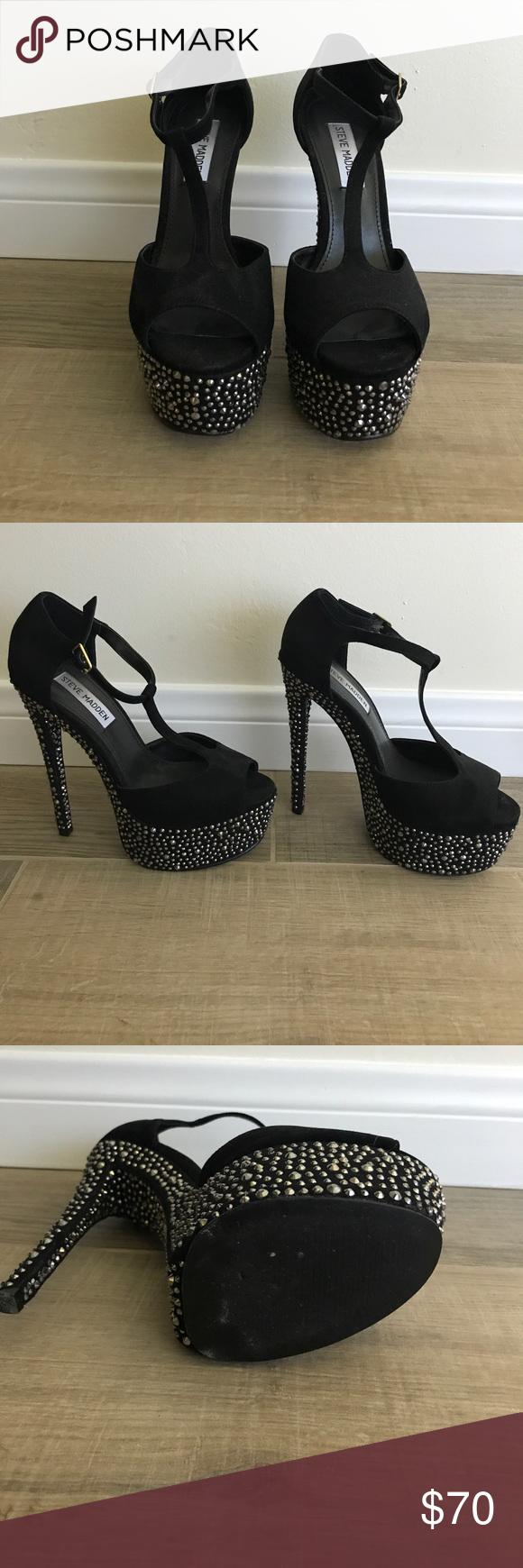 Steve Madden black rhinestone heels
