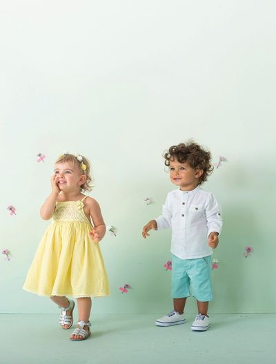 32274ce09 Conjunto 2 prendas vestido de ceremonia + bombacho bebé niña AMARILLO CLARO  LISO+BLANCO CLARO LISO