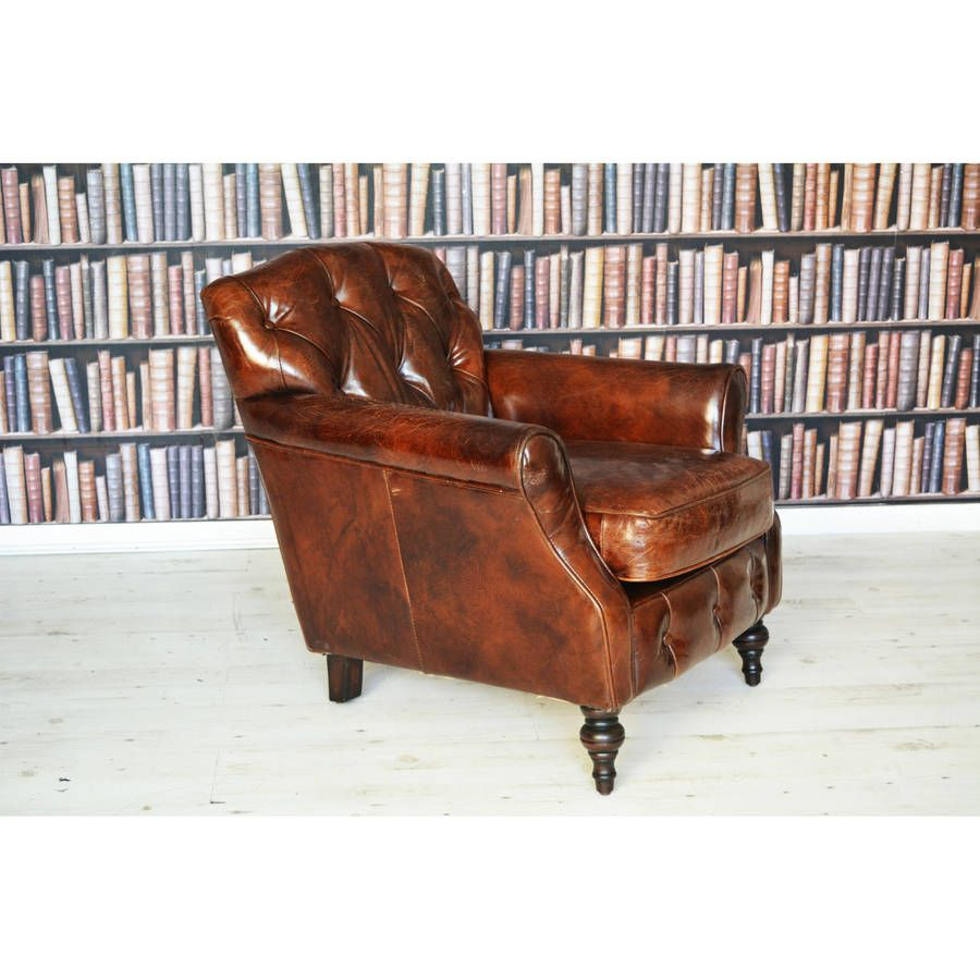 antique leather wingback chesterfield armchair | chesterfield