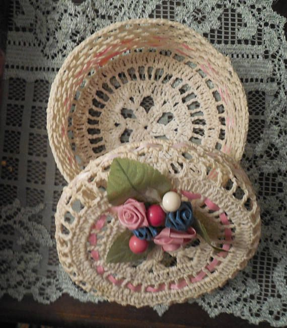 Crocheted basket with lid crochet basket and lid decorative ...