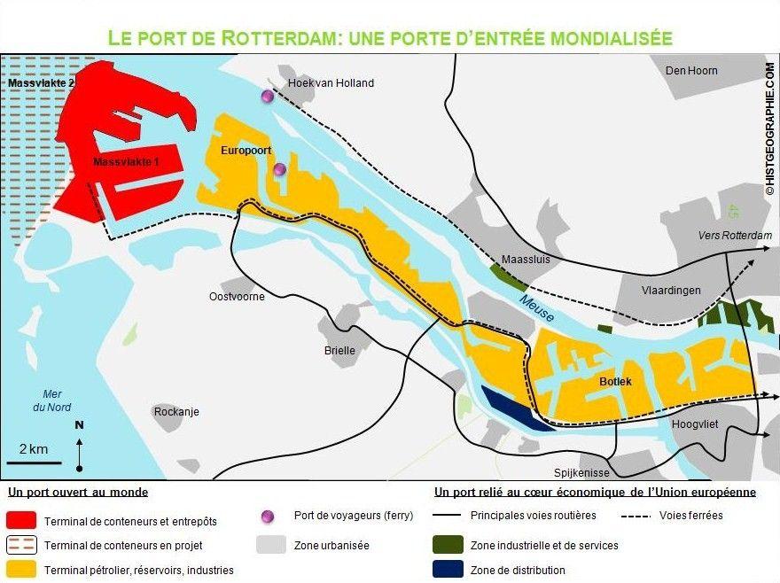 Croquis du port de Rotterdam, un espace mondialisé. Source ...
