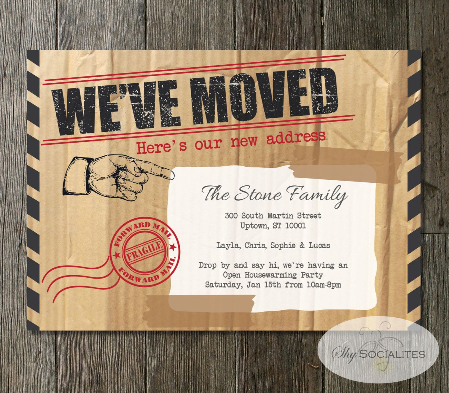 We've Moved Announcement Moving Box, Cardboard, Forward
