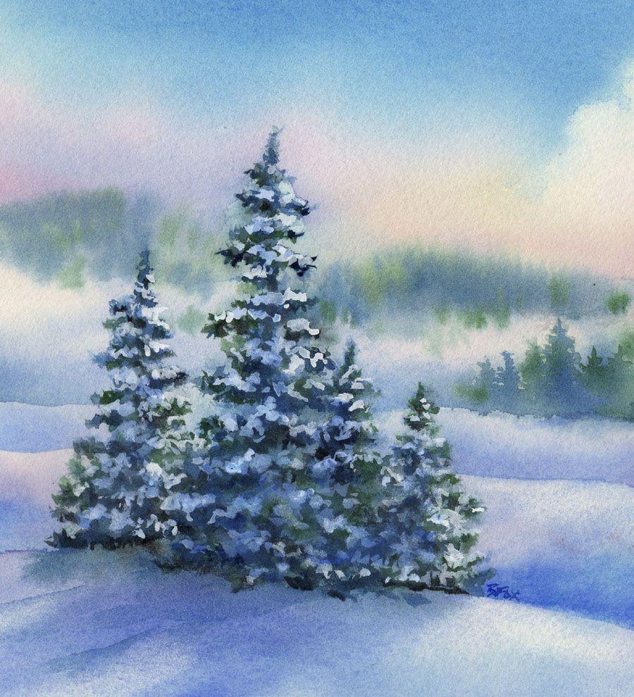 Pine Ridge Winter Landscape Watercolor Painting Beautiful
