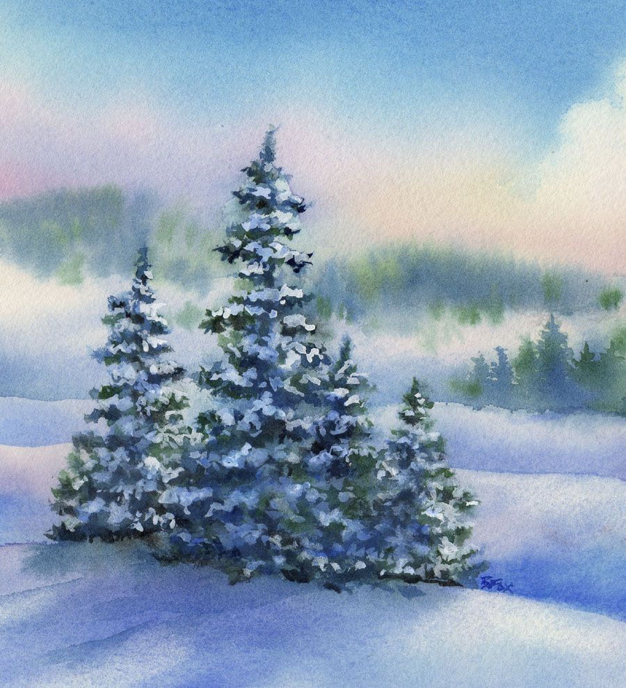 Pine Ridge Winter Landscape Watercolor Painting Beautiful