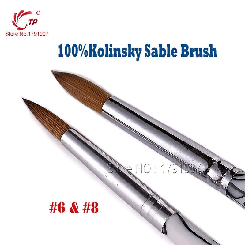 US $11.94 Beauty Care 2pcs/lot #6 + #8 Pure Animal Kolinsky Hair ...