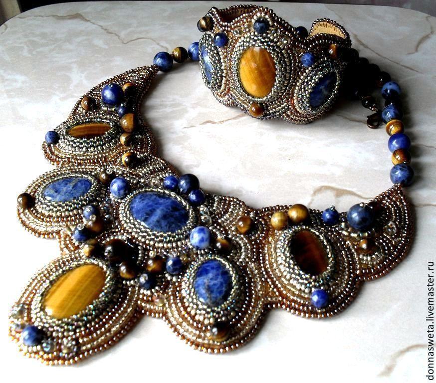 Купить Колье из бисера Принцесса Осень.(2 варианта) - золотой, колье, колье с камнями