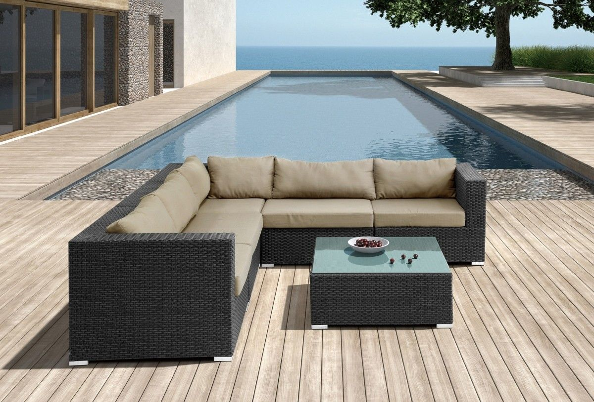 Modern Fabric Patio furniture in Black - $2214 -- Features: L shape, Modern aesthetic patio sectional sofa design #ModernMiami #MiamiFurniture #Furnituredesign #HomeDecor #Patio #PatioFurniture