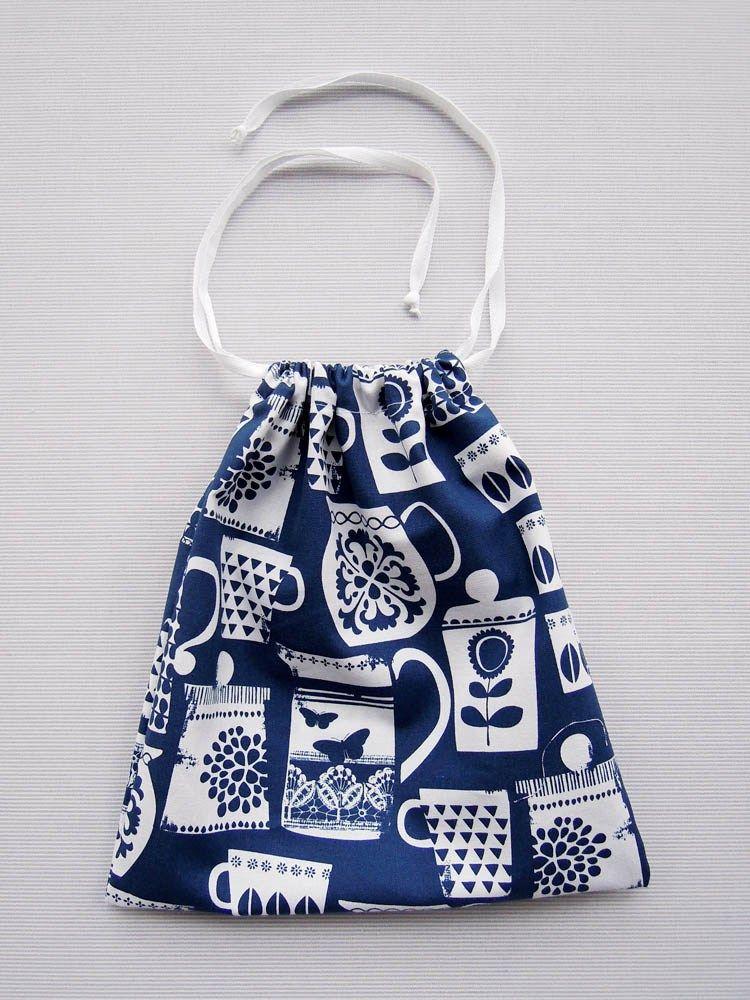 Tutorial : Drawstring Bag | Taschen nähen, Diy nähen und Nähprojekte