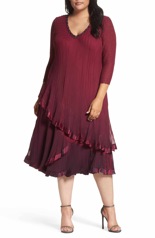 Main Image Komarov Tiered Ombr Charmeuse Chiffon Dress Plus