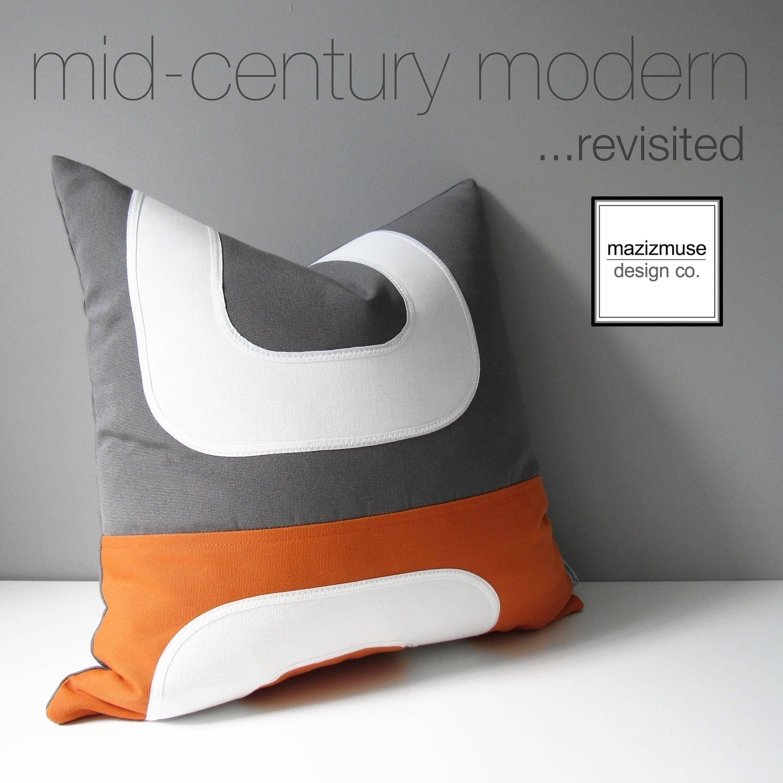 Orange Grey Outdoor Pillow Cover Decorative Mid Century Modern