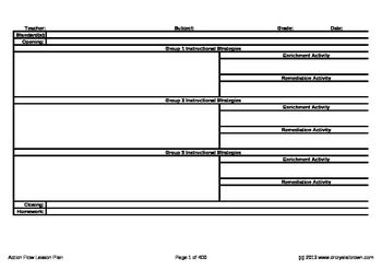 Action Flow Lesson Plan Template  Math    Lesson Plan