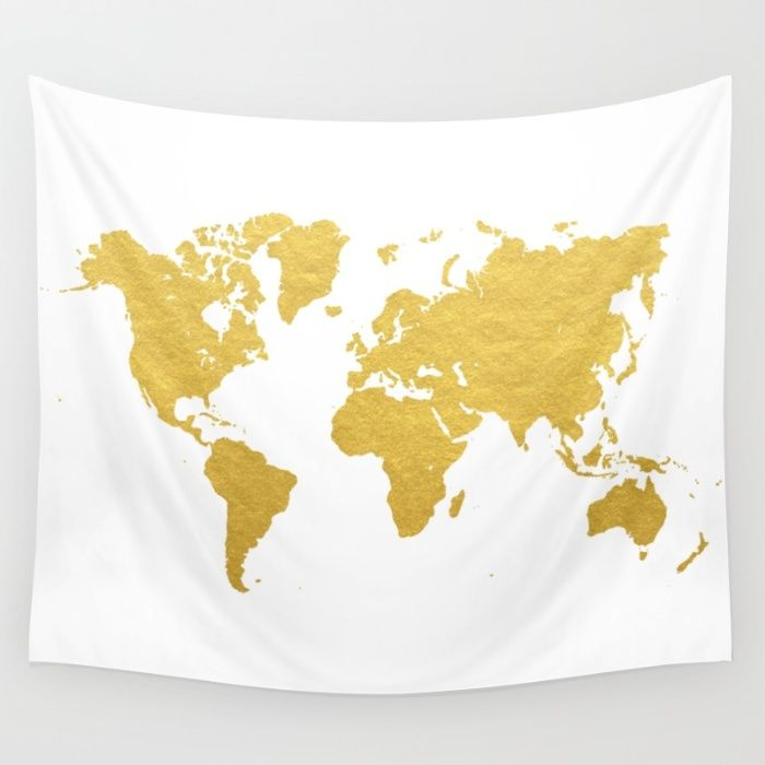 Gold world map wall tapestry wedding planner pinterest wall gold world map wall tapestry gumiabroncs Images