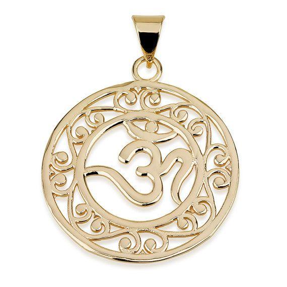OM en círculo colgante 14k oro plateado tamaño 15 por MagayaJewelry