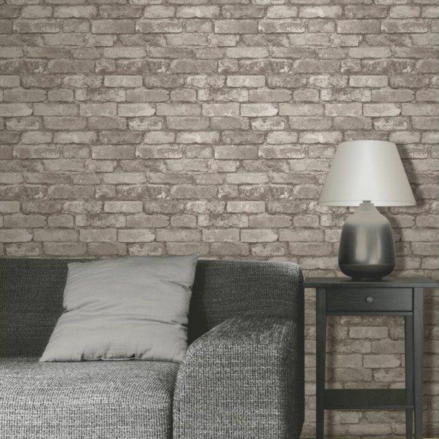 Papier peint brique pour un salon de style industriel murs de pierre papie - Papier peint style industriel ...