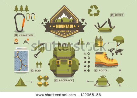hiking equipment info graphics,mountain icons, by filip robert, via ShutterStock