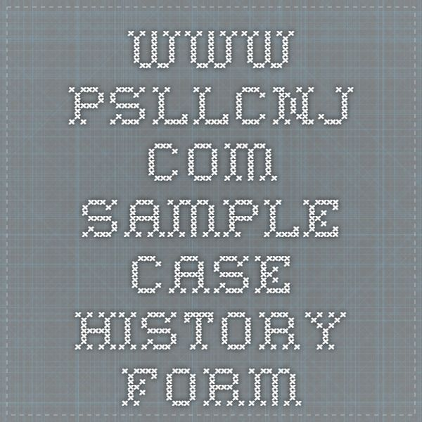 wwwpsllcnj SAMPLE Case History Form SLP Pinterest Speech