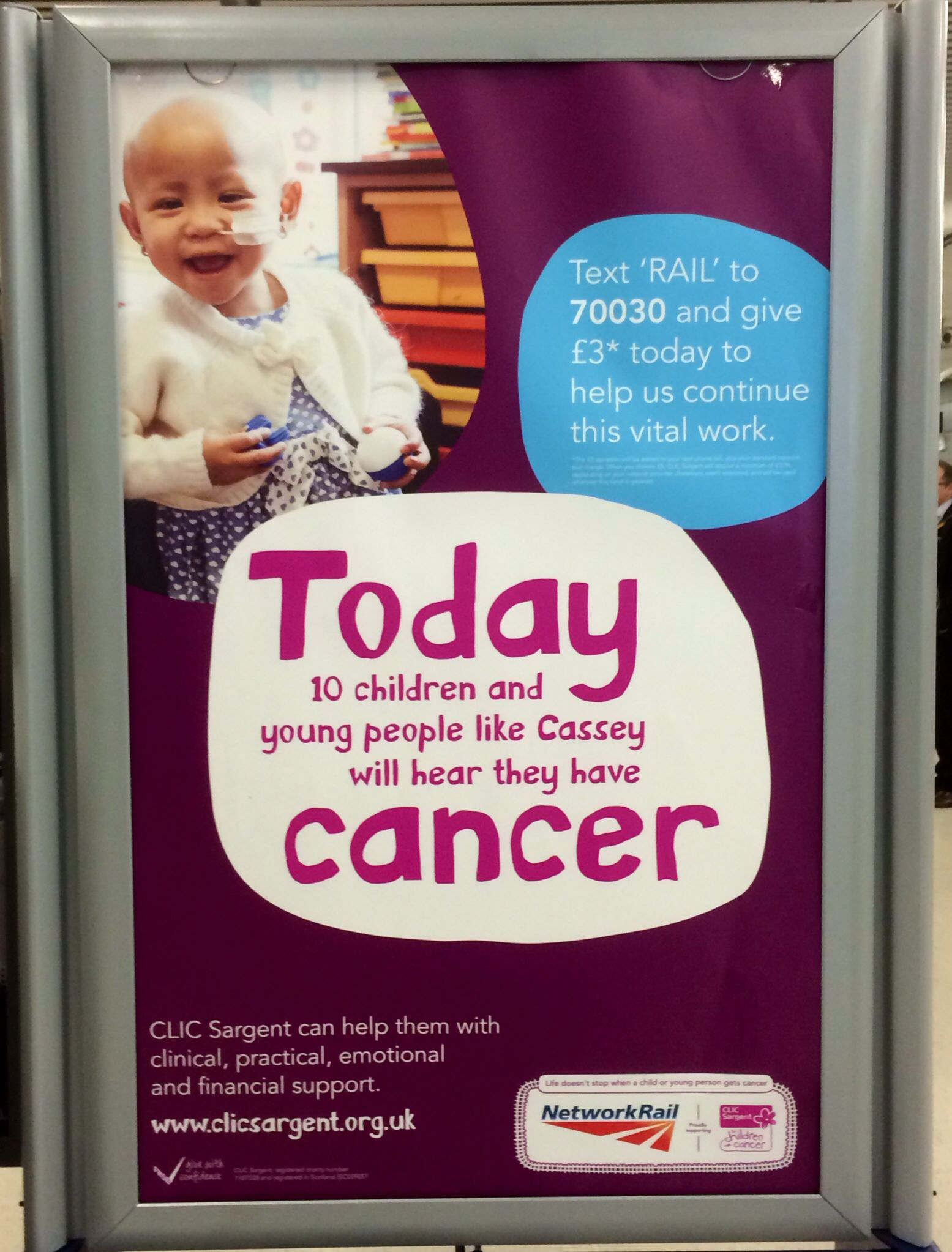 Here's a charity poster where CLICK Sargent are asking for donations of £3 by text message to support their work with children who have cancer. Network Rail are featured as a corporate supporter. We guess they hopefully give them this kind of high footfall ad space for free but who knows! #clicsargent #charity #poster