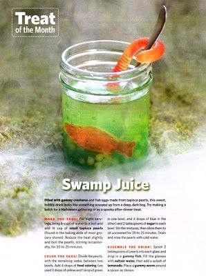 swamp juice filled with gummy creatures and fish eggs made from