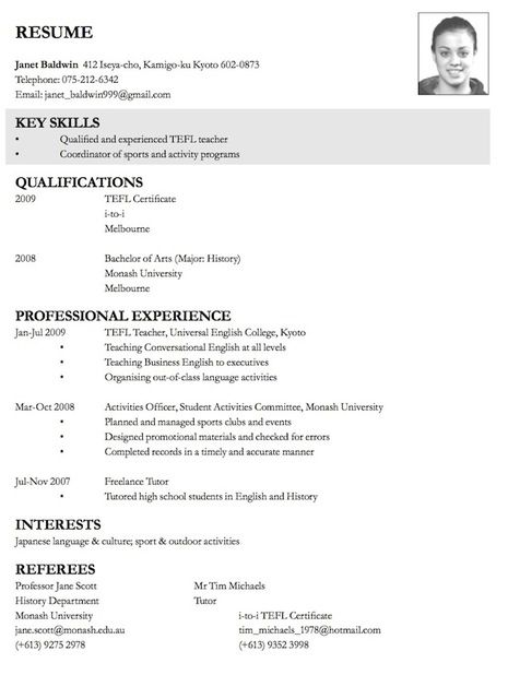 CV example cv\/business plan Pinterest Cv examples and - model resume for teaching profession