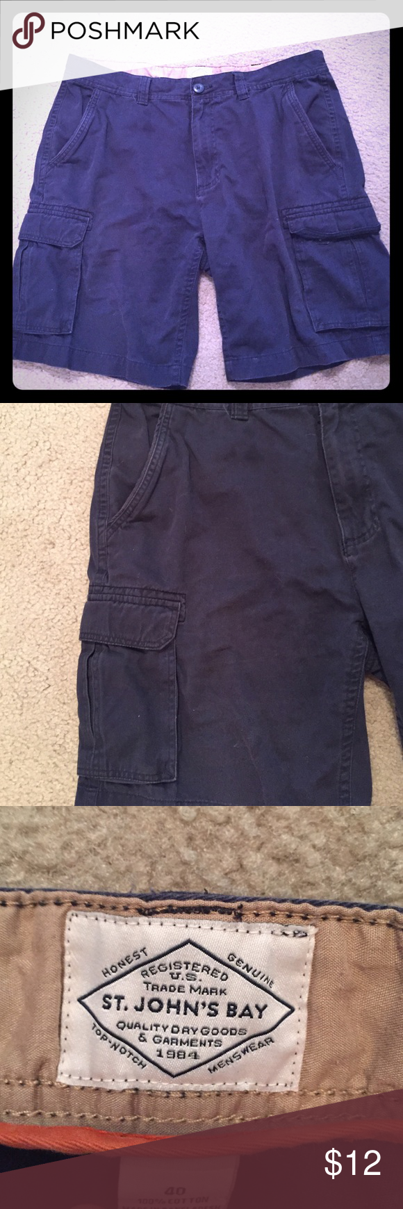 """Navy men's cargo shorts size 40 See pics; great condition no defects 10"""" inseam     Long St. John's Bay Shorts Cargos"""