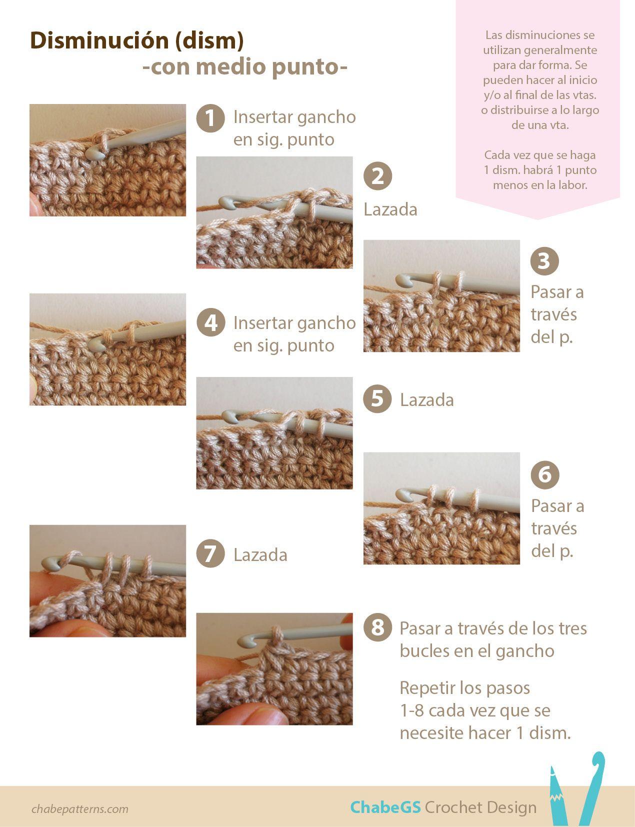 Fototutorial sobre cómo hacer disminuciones con medio punto (punto ...