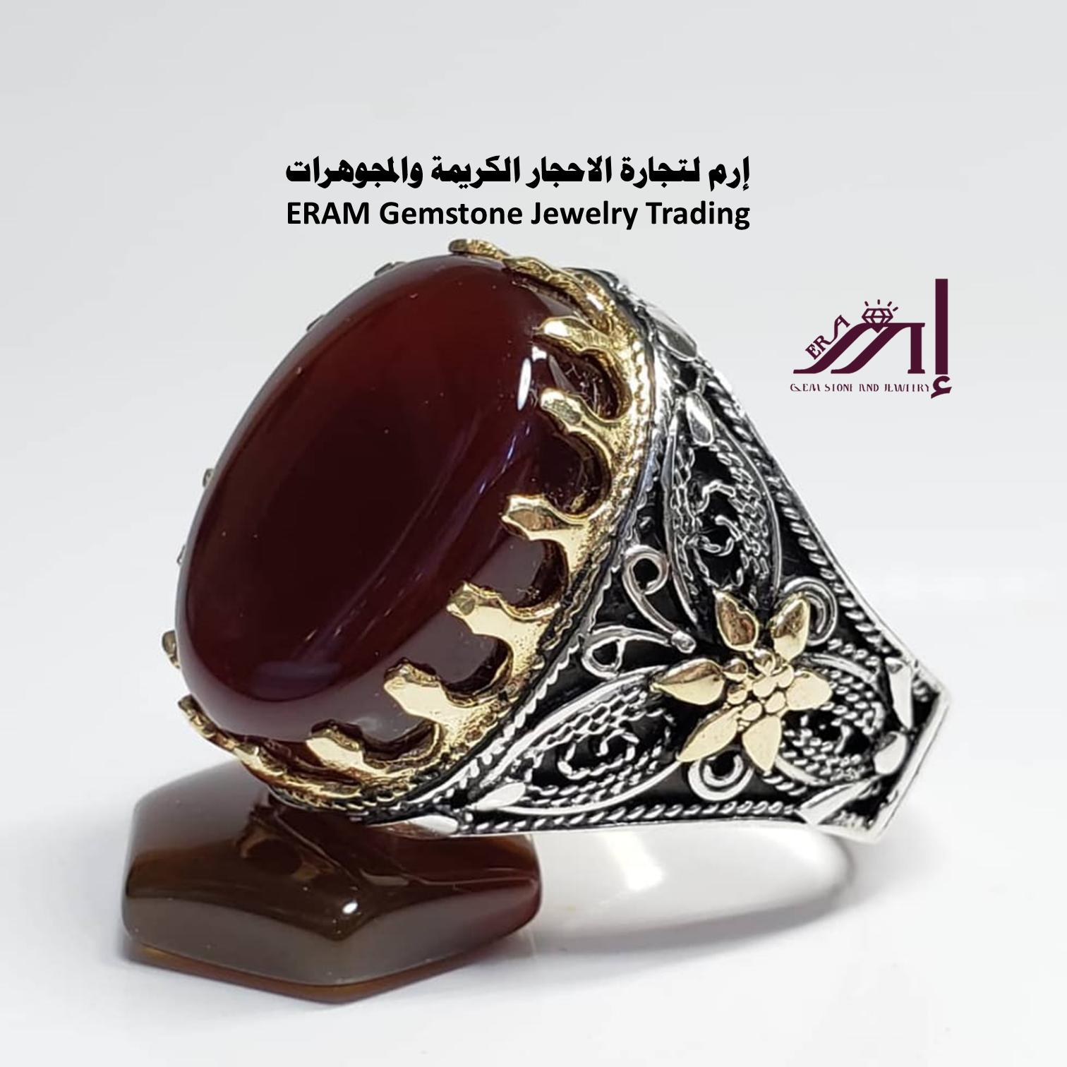 اتبع مشاعرك في اختيار مجوهراتك خاتم يماني عقيق احمر كبدي دم الغزال درجة اولى Agate مميز طبيعي100 Gemstones Gemstone Jewelry Gemstone Rings