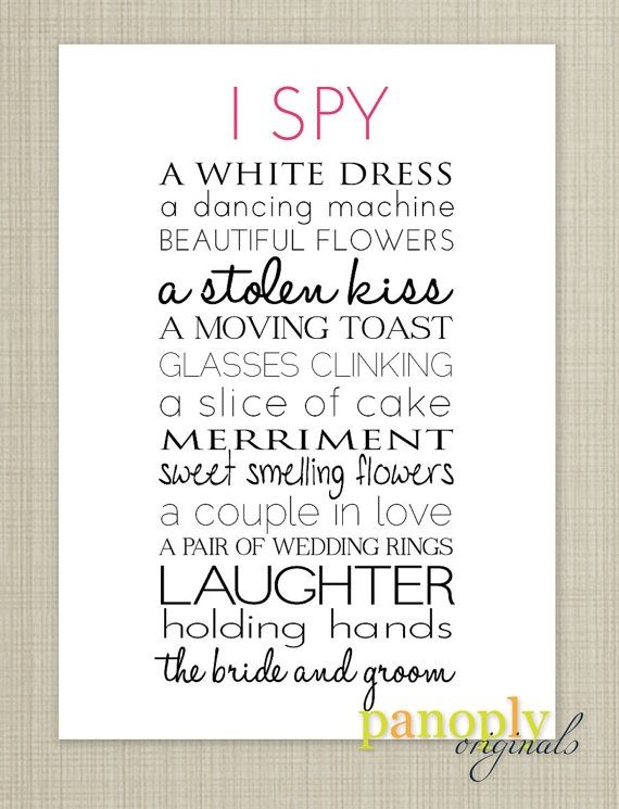 I Spy Wedding Game Template | Wedding Reception Game - I SPY | L ...