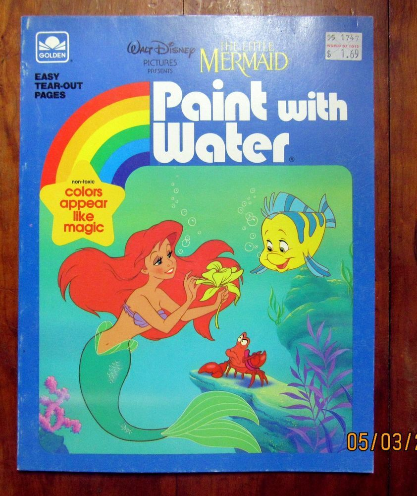 golden books paint with water coloring book little mermaid 1989 unused unpainted goldenbook - Water Coloring Book