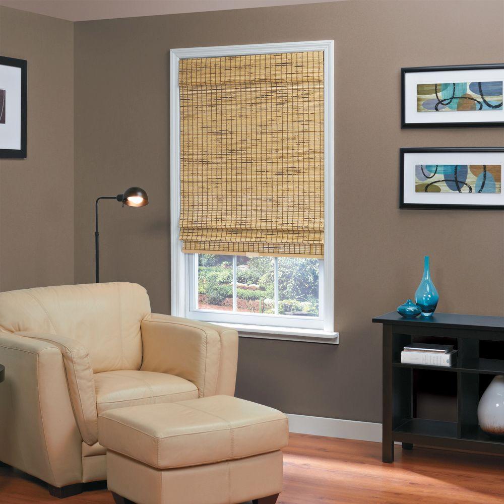55 Home Basics Burnout Natural Woven Bamboo Cordless Roman Shade