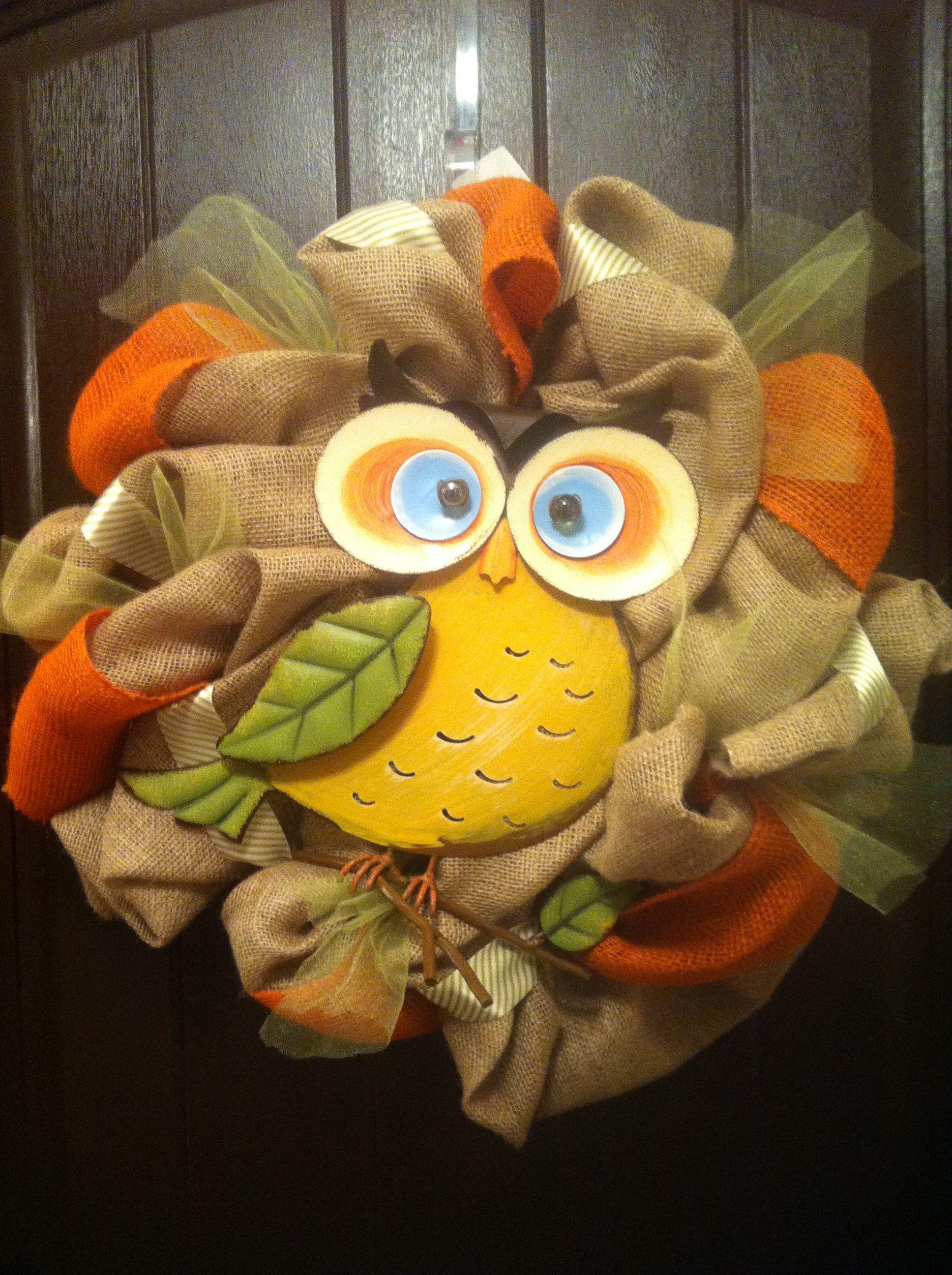 Owl Wreath-The Dressy Door on Facebook