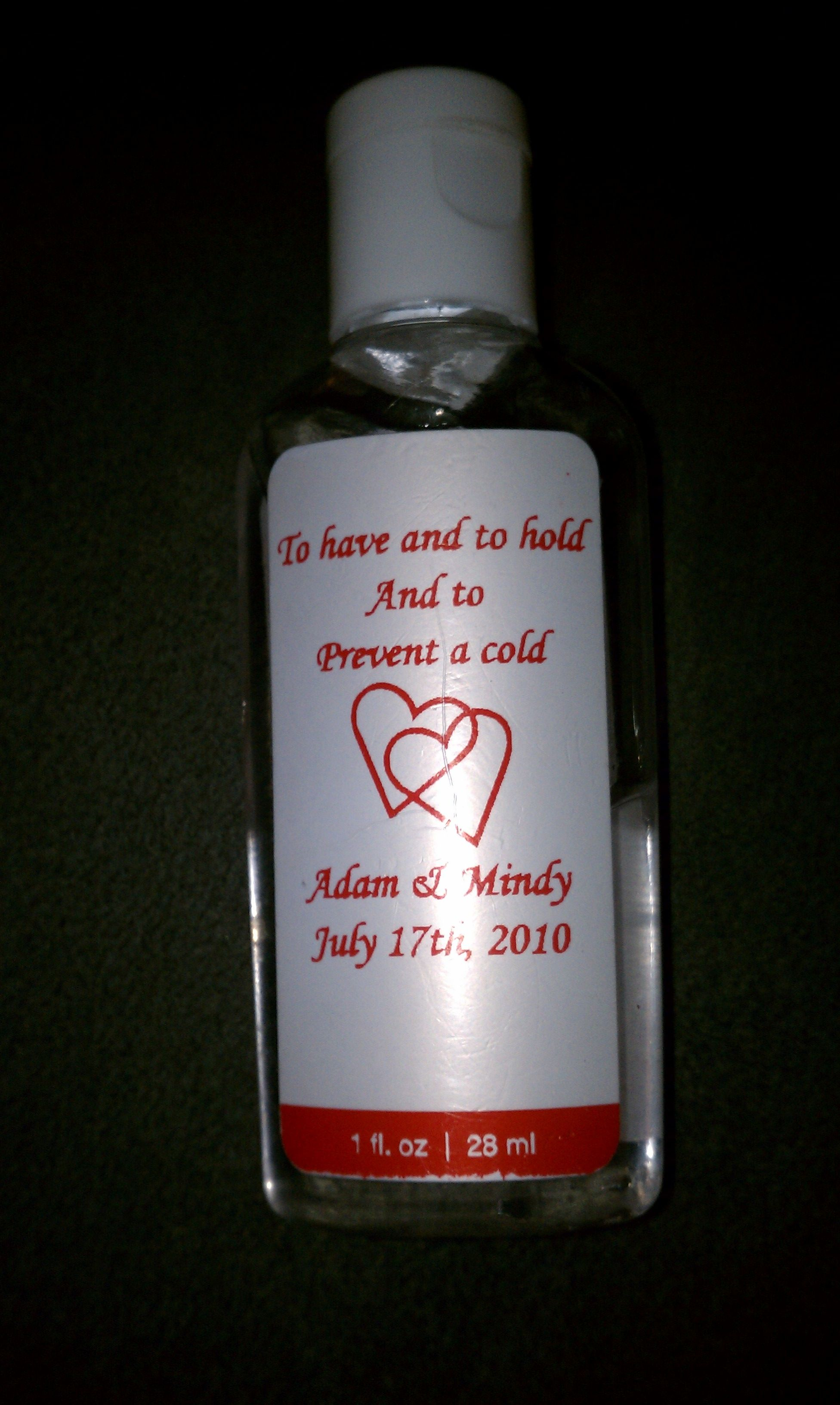 Hand sanitizer wedding favor to have and to hold and to for Hand sanitizer bridal shower favors