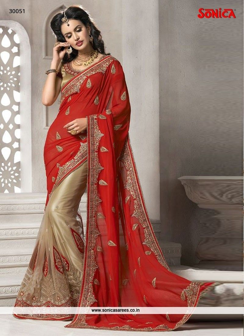 bf9aecc679c Grandiose Net Beige and Red Embroidered Work Designer Saree