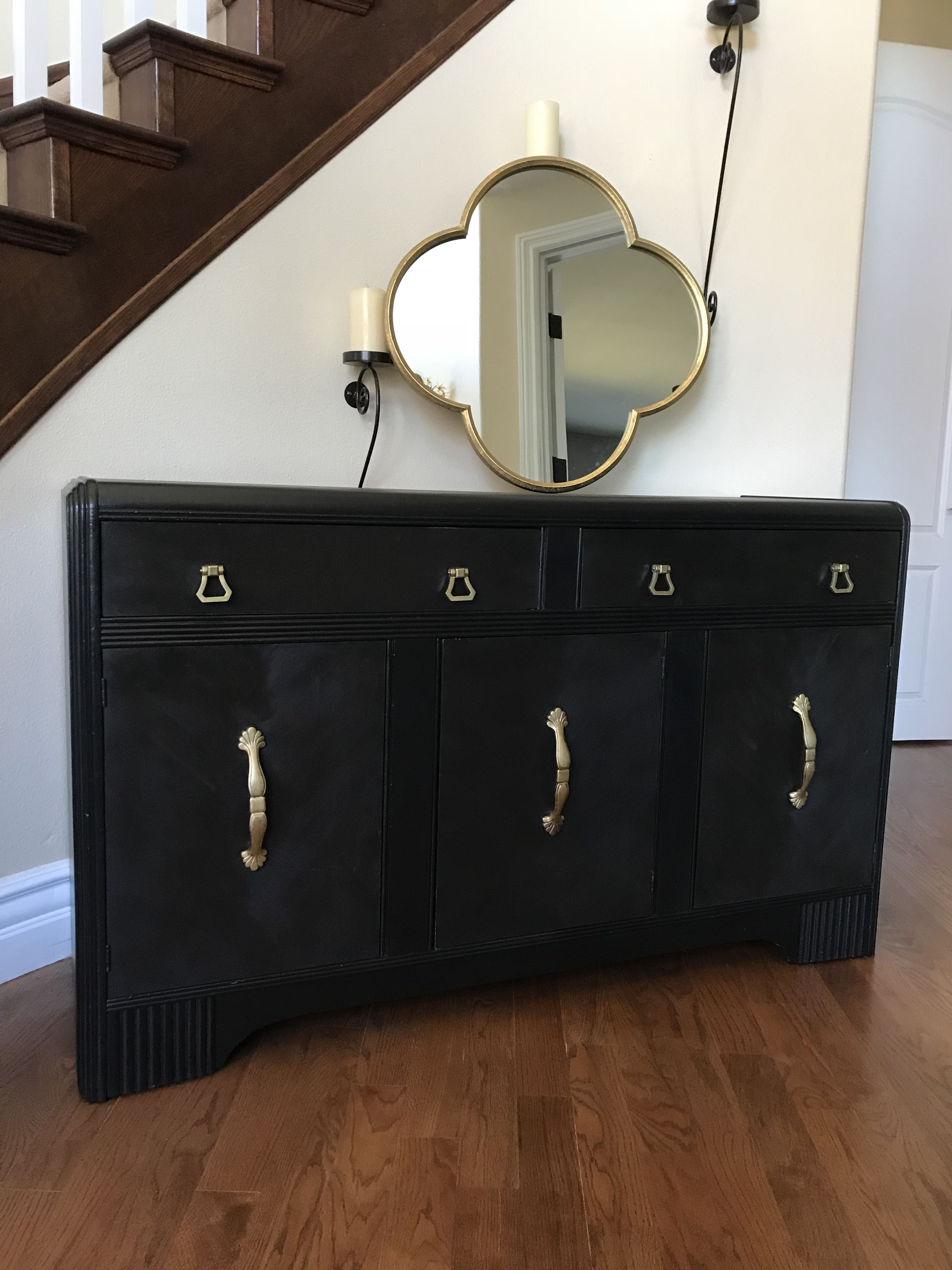 Bon A Trash To Treasure Vintage Buffet. Chalk Painted In A Dark Black And Used  Black