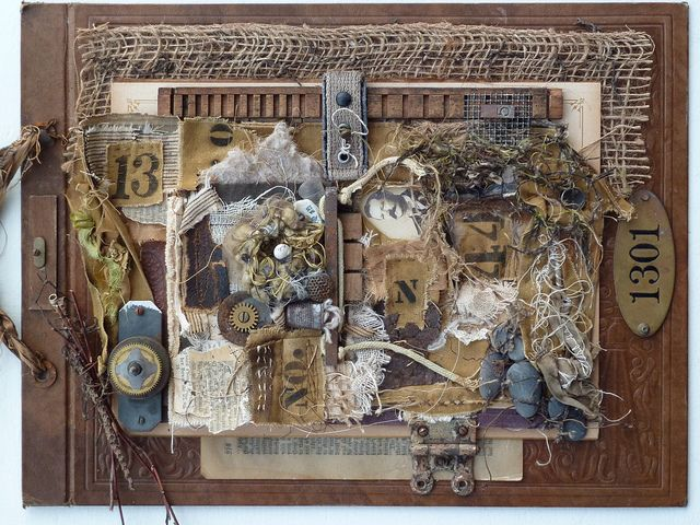 "great mixed media assemblage--love the idea of using a year""1301"" for the theme with many items superimposed."