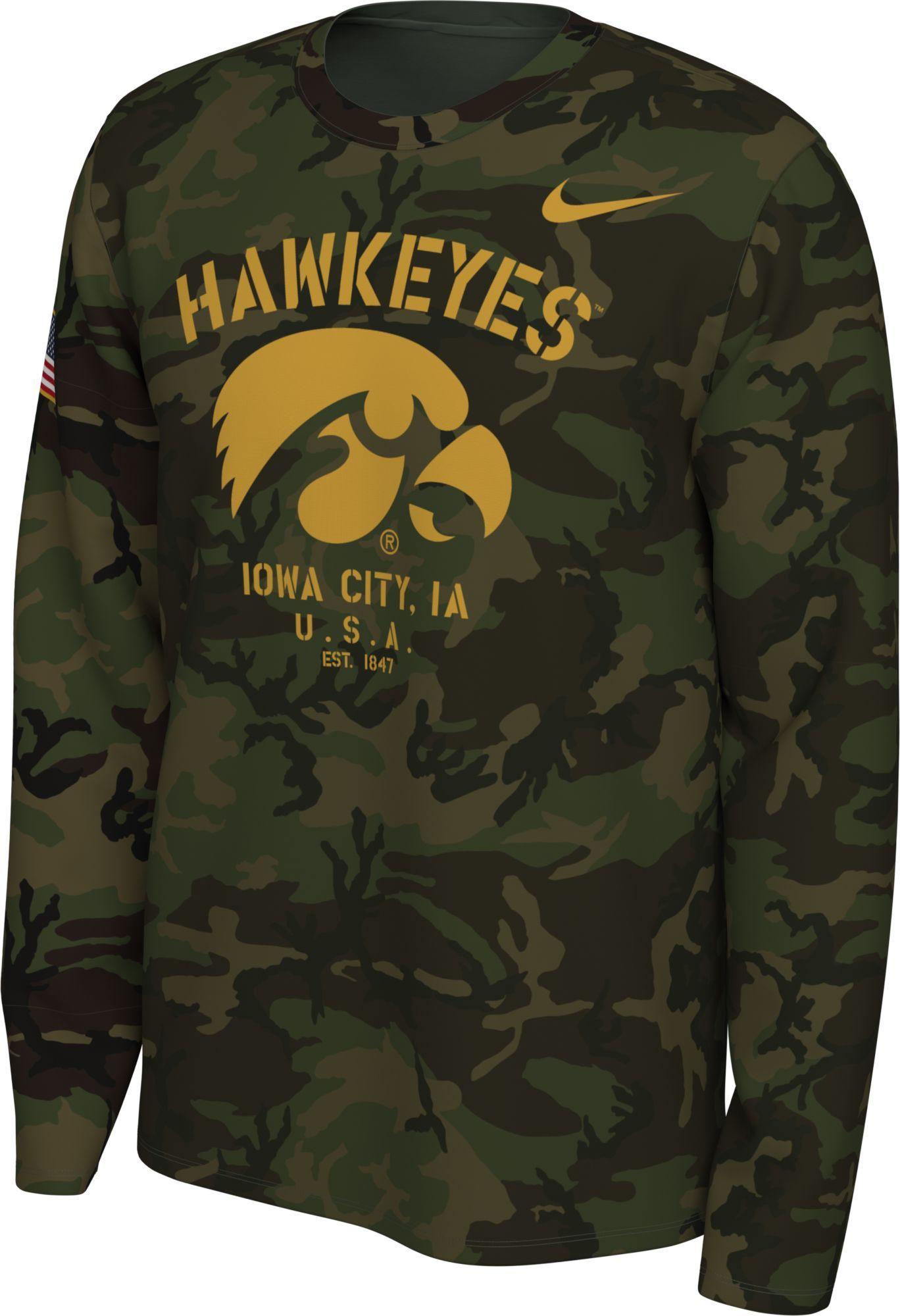 Nike Men S Iowa Hawkeyes Camo Veteran Long Sleeve T Shirt In 2020 Nike Men Iowa T Shirt [ 2000 x 1368 Pixel ]