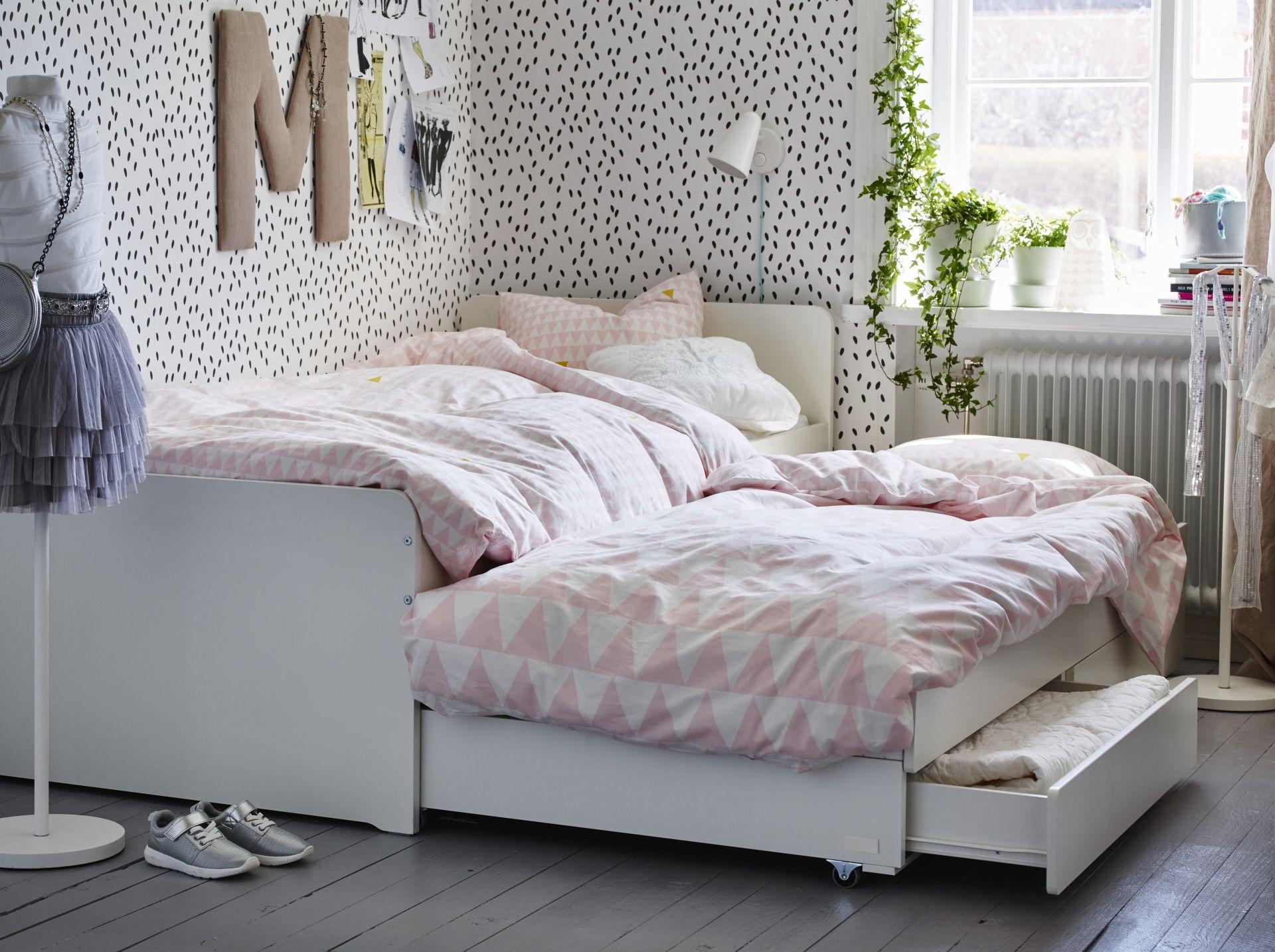 Slaapkamer Pimpen Ikea : SlÄkt bedframe met onderbed en opberger wit